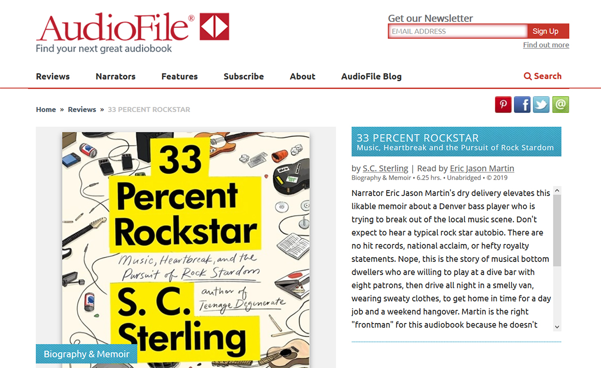 Audiofile Review of 33 Percent Rockstar Audiobook Book
